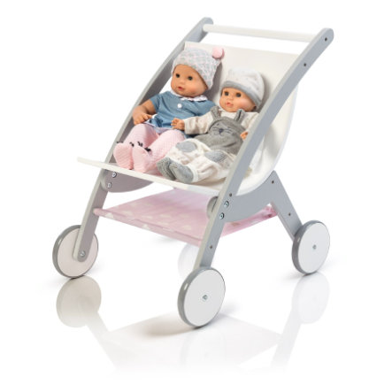 MUSTERKIND® Passeggino gemellare per bambole, grigio/bianco