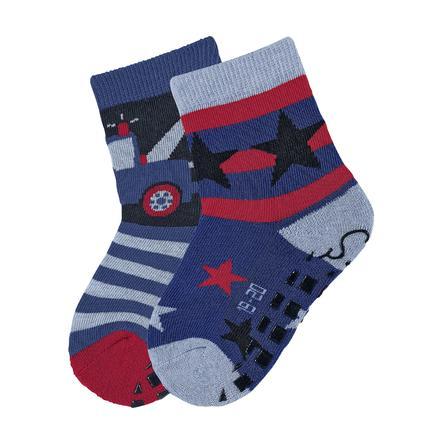 Sterntaler Jongens ABS sokken dubbelpak sleepwagen en sterren blauw