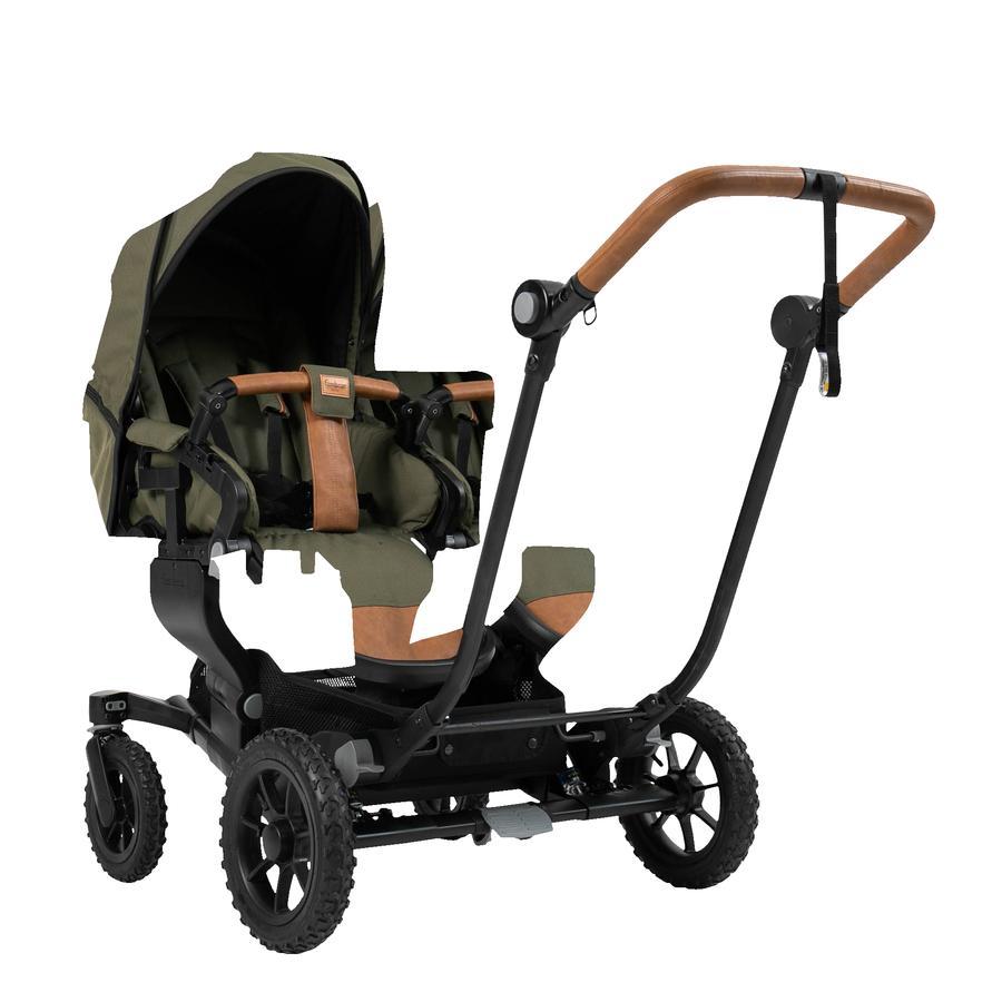 Emmaljunga Zwillingswagen NXT Twin Flat Black Outdoor AIR/Outdoor Olive