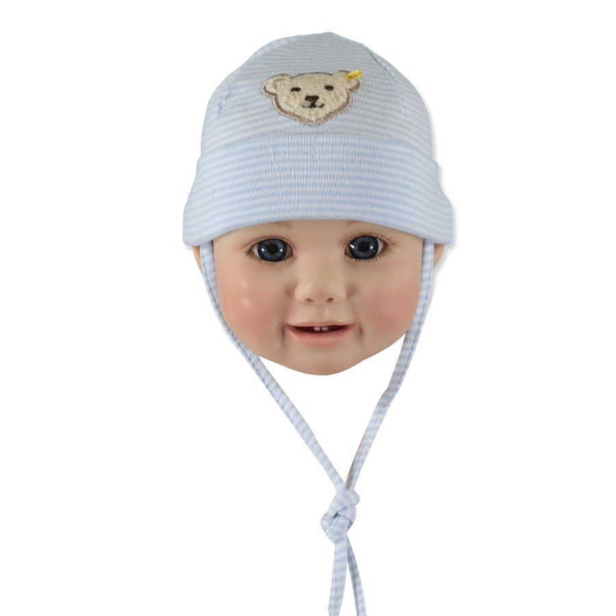 STEIFF Boys Baby Hat, stripes baby blue