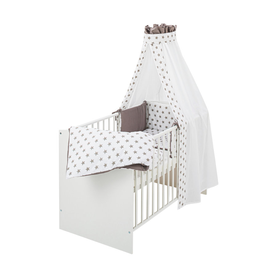 Schardt Bed Compleet Classic White Big Stars grijs 60 cm x 120 cm