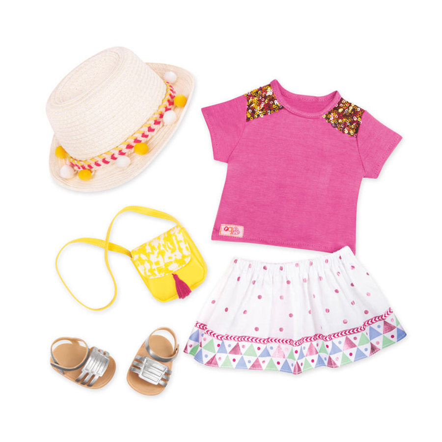 Our Generation - Outfit Deluxe Sommerdress mit Strohhut