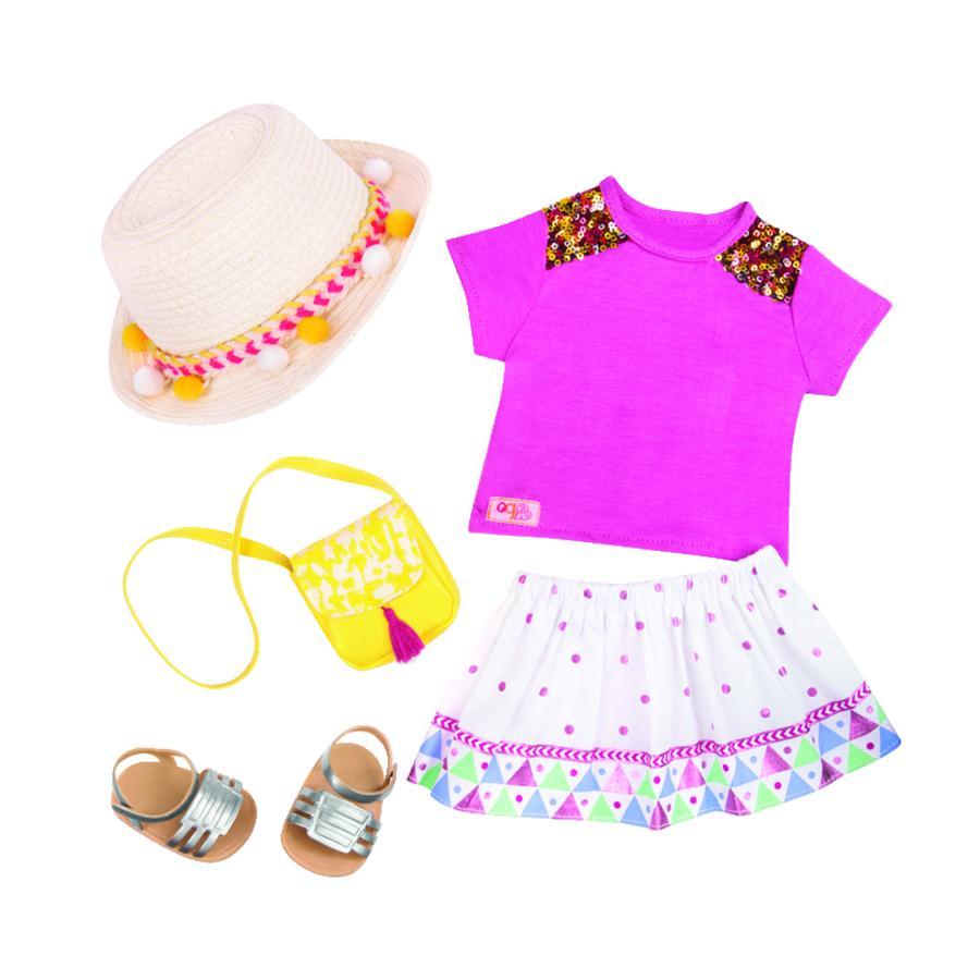 Our Generation - Outfit Deluxe sommerkjole med stråhat