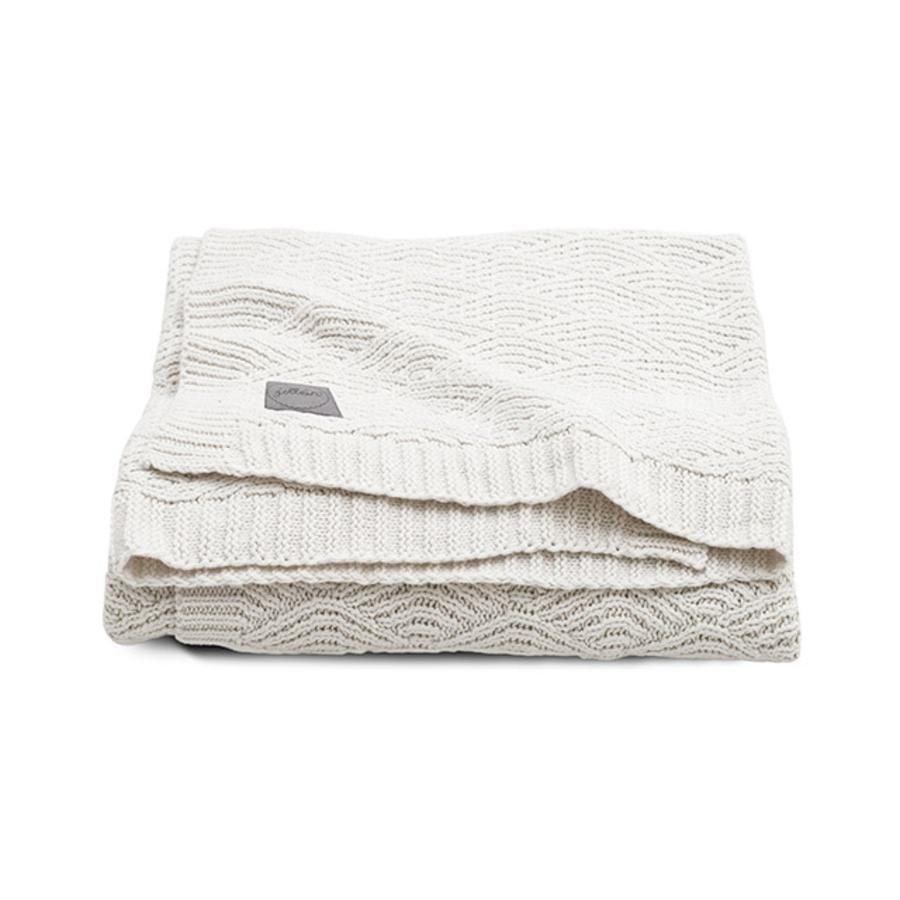 jollein Gebreide deken River gebreid cream white 75 x 100 cm