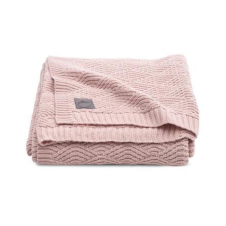 jollein Pletená přikrývka River pletená světle růžová 100 x 150 cm