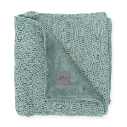 jollein Copertina a maglia River knit ash green coral fleece 75 x 100 cm