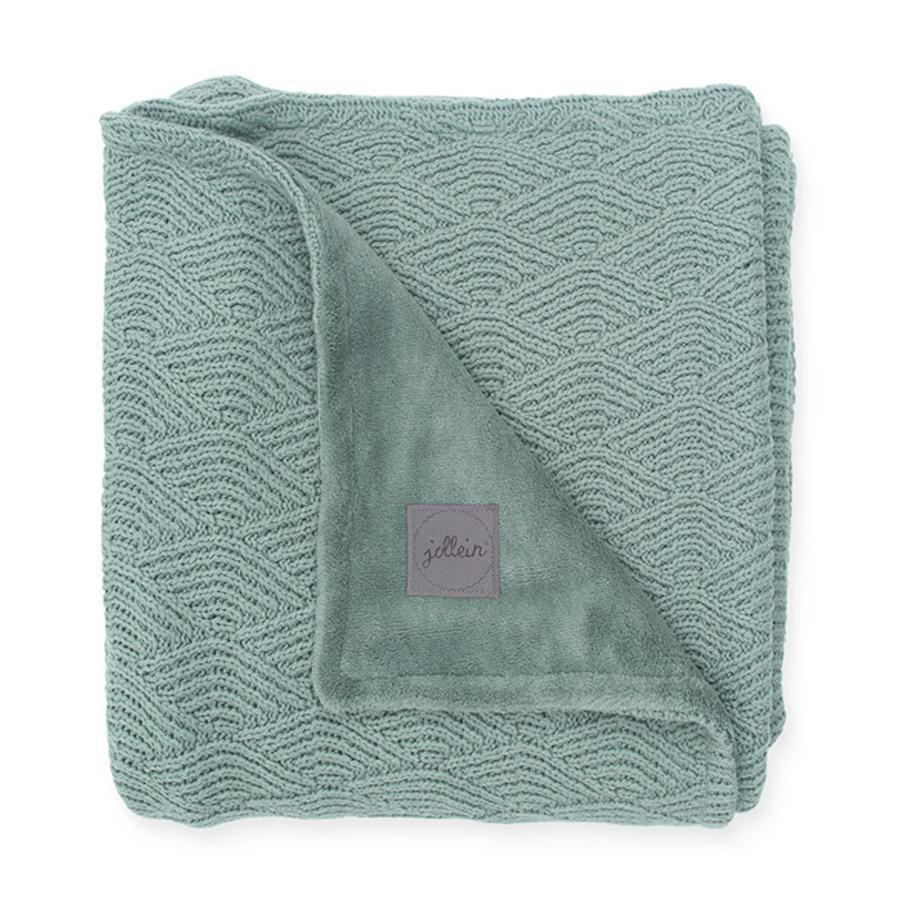 jollein Strickdecke River knit ash green coral fleece 75 x 100 cm