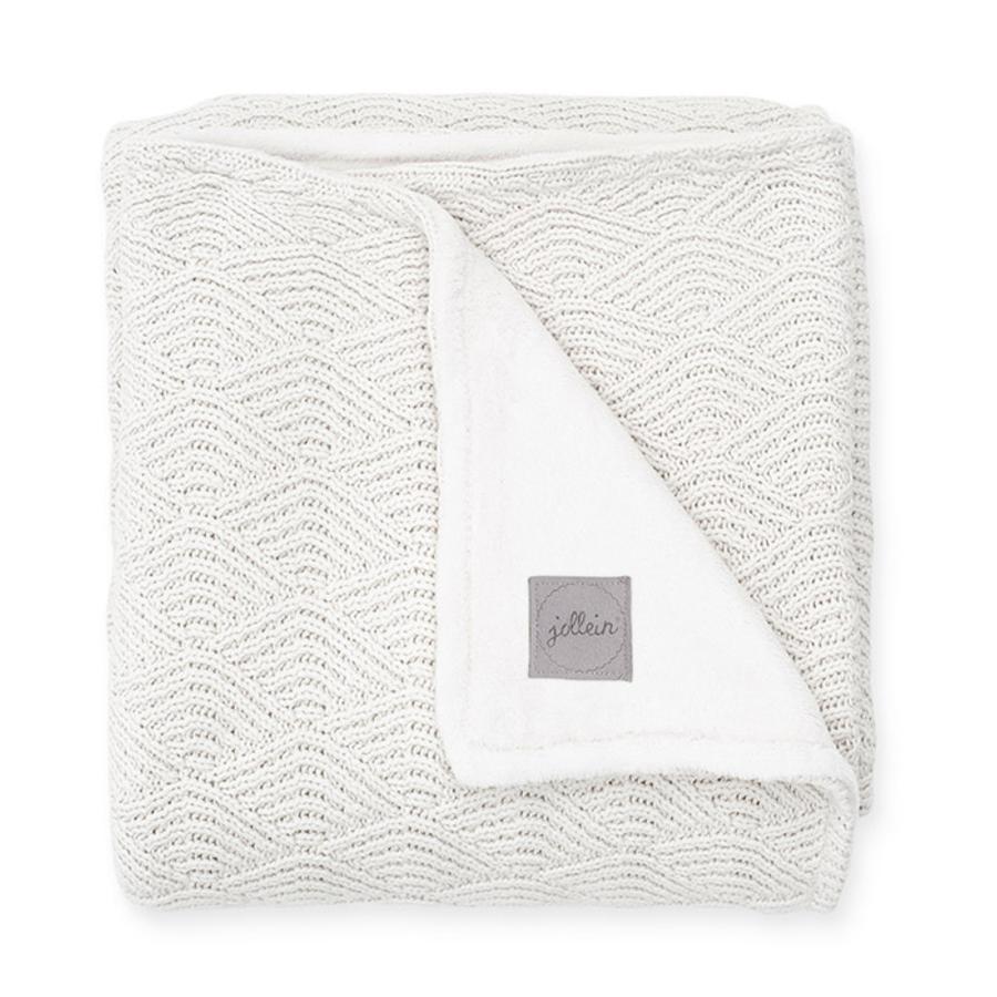jollein Couverture bébé tricot River knit cream white polaire corail 75x100 cm