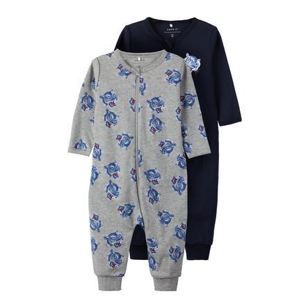 name it Pyjamas 2er Pack gråmelert