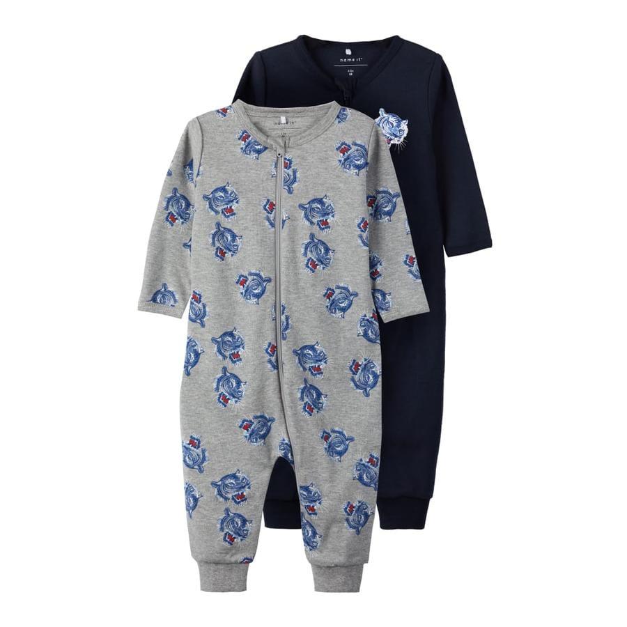 name it Pyjamas 2er Pack gråmelerad