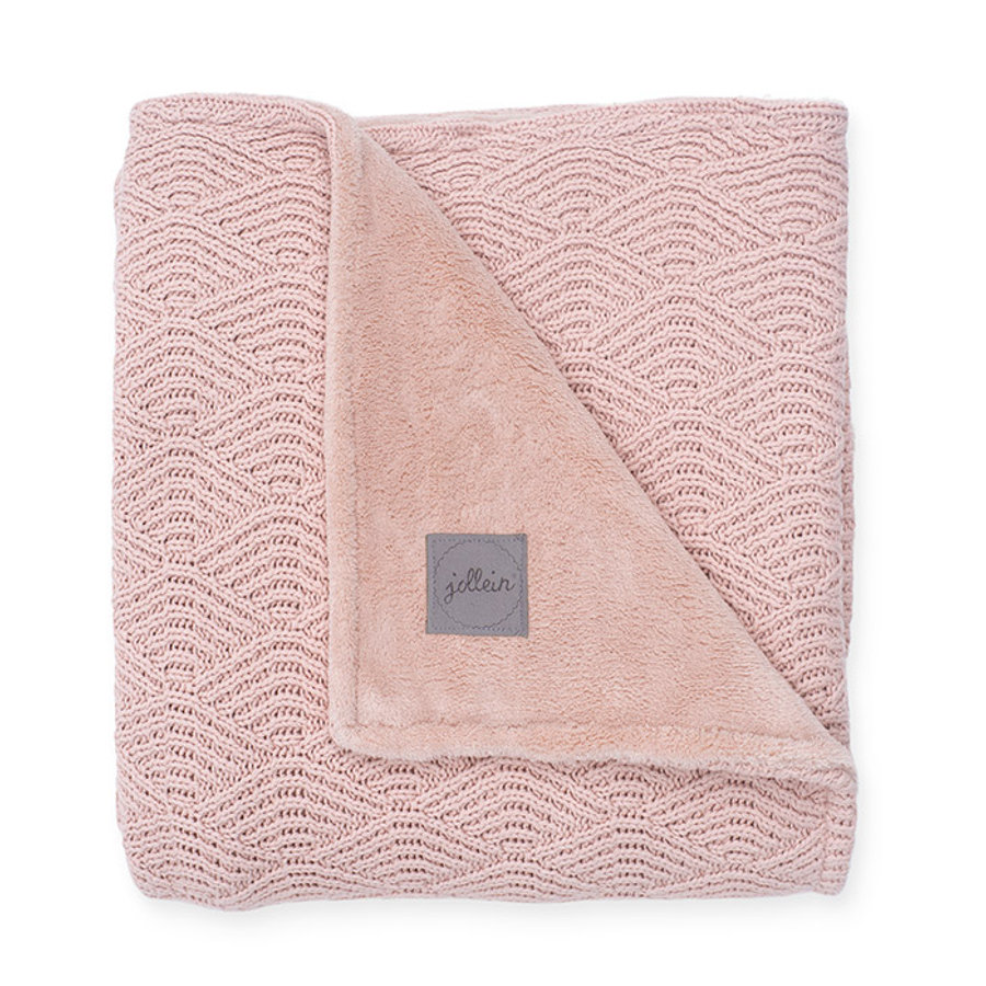 jollein Strickdecke River knit pale pink coral fleece 75 x 100 cm