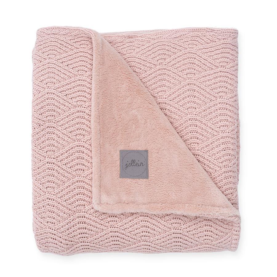 jollein Strickdecke River knit pale pink coral fleece 100 x 150 cm