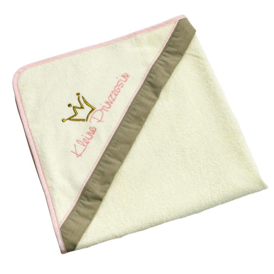 Be 's Collection Badhanddoekje met mutsje Kleine Prinses ecru/roze 80 x 80 cm