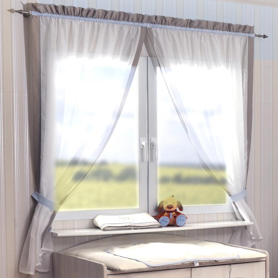Be Be 's Collection Vorhang 2 Schlaufenschals je 100 x 240 cm Kleiner Prinz ecru/bleu