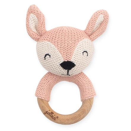 jollein Anneau de dentition faon Deer pale pink bois Ø 7 cm