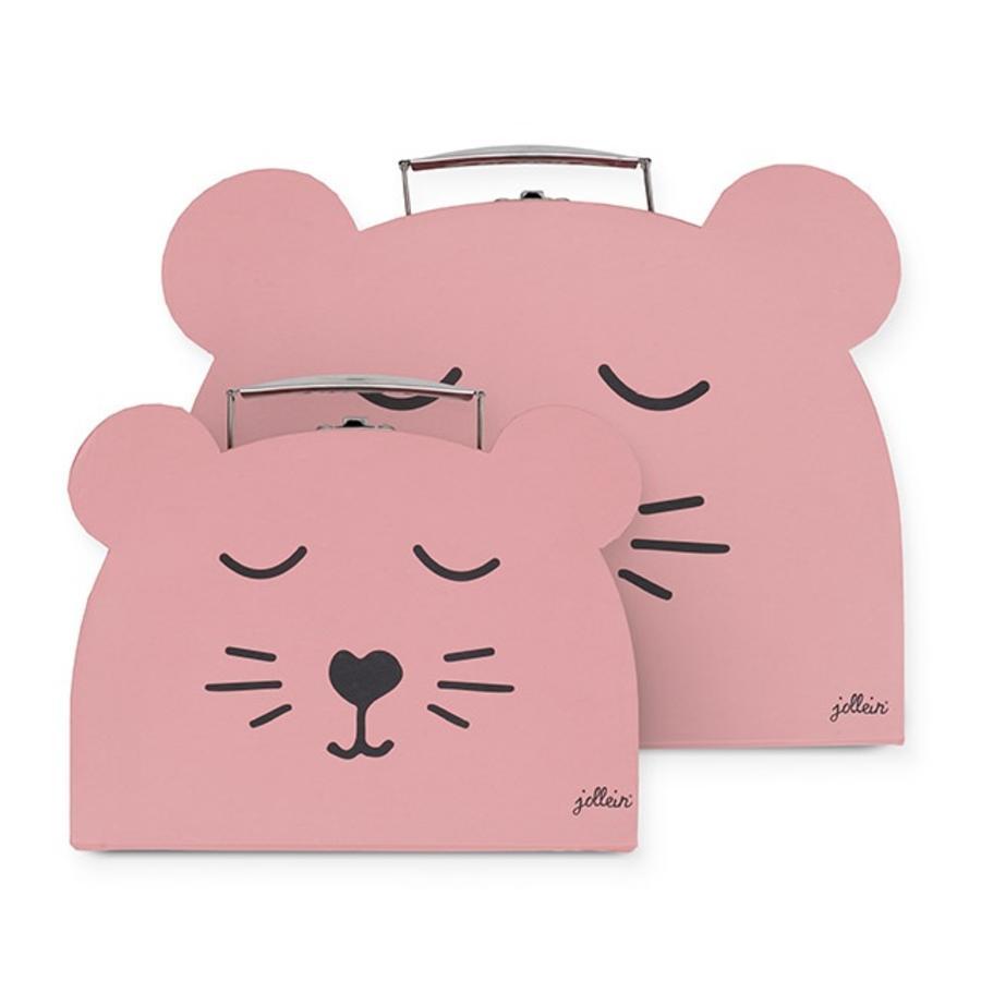 jollein Mallette pour jouets Animal Club rose lot de 2