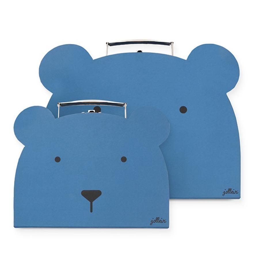 Jollein Spielzeugkoffer Animal club steel blue 2er-Set