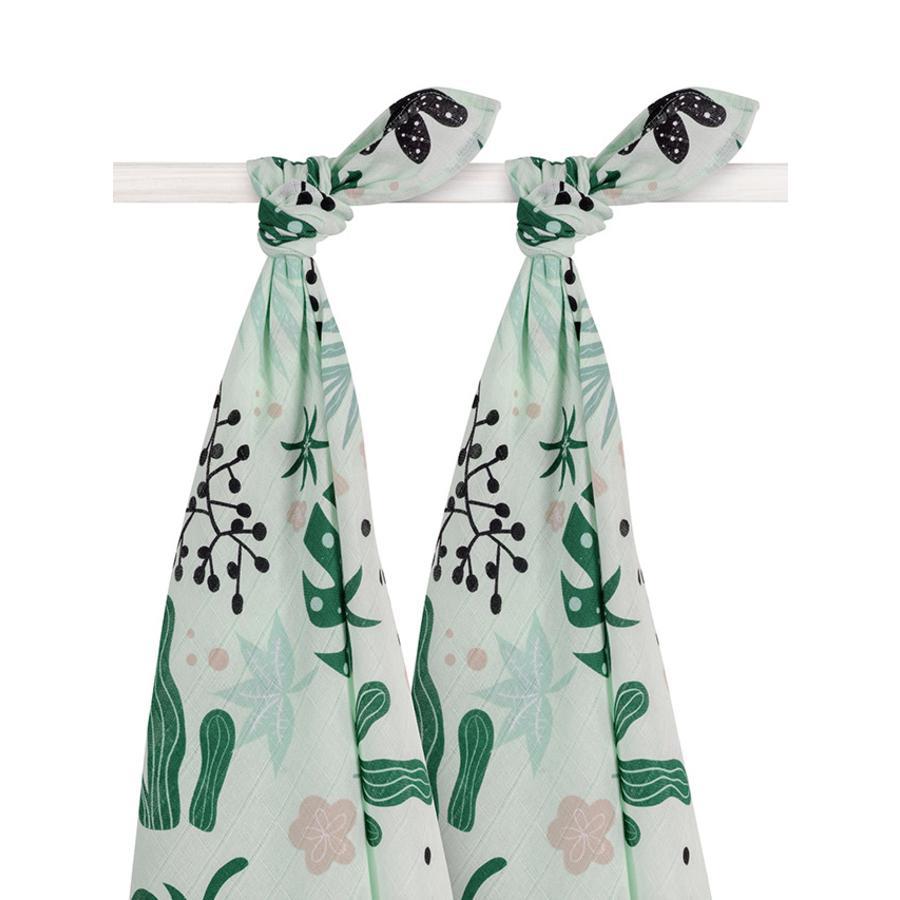 Jollein Gauze pleny 2-pack Leaves 115x115cm