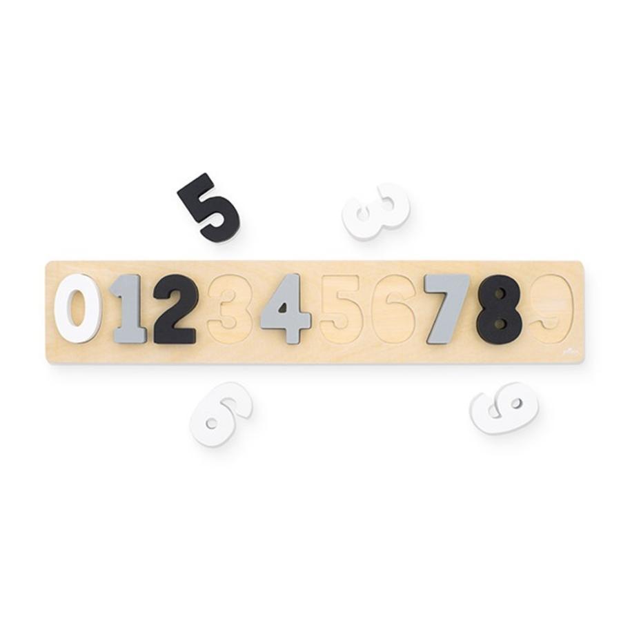 Jollein Number puzzle trægrå / hvid