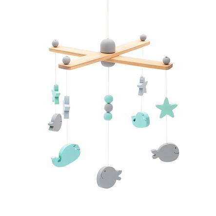 jollein Mobile animaux marins bois gris/blanc