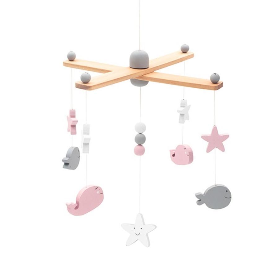 jollein Mobile animaux marins bois rose/blanc