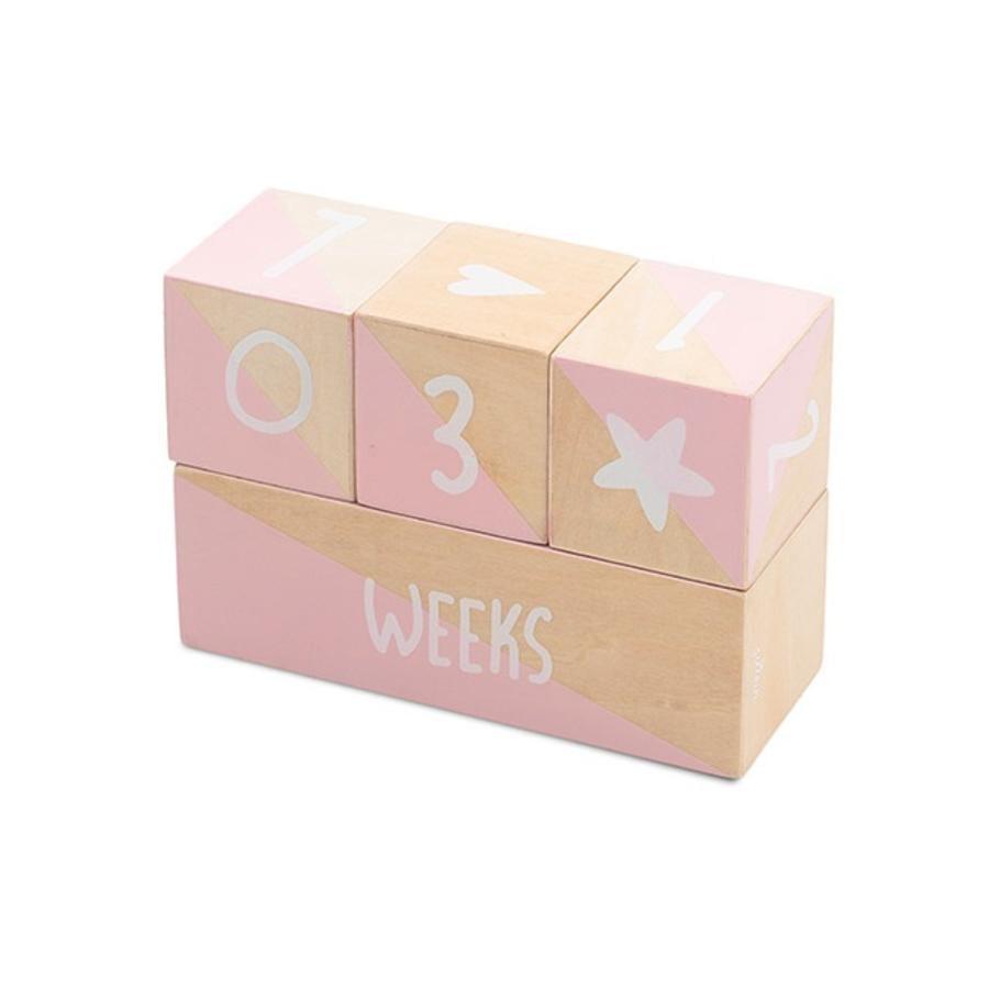 Jollein Milestone Blocks bílá / růžová sada