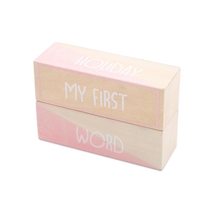 jollein Cubes enfant Mes premiers moments bois rose/blanc 2 pièces