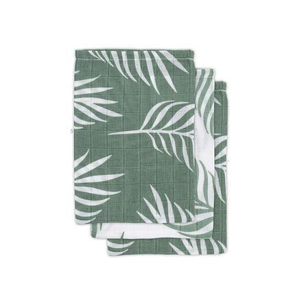 jollein Gasvas tvättduk 3-pack natur askgrön