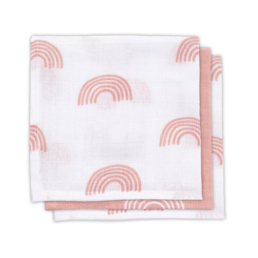 jollein Paquete de 3 toallas de gasa para la boca, rosa arco iris blush