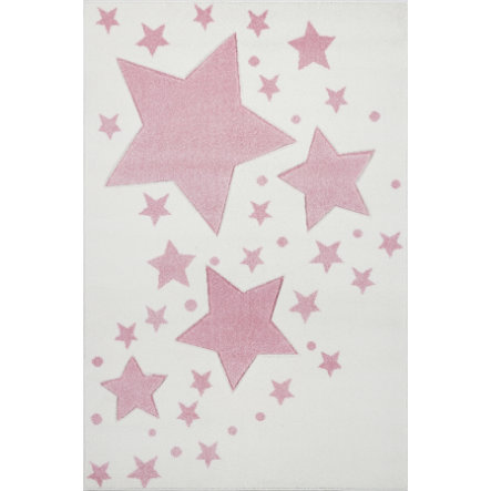 LIVONE Barnmatta Kids Love Rugs - Starline creme/rosa 100 x 150 cm