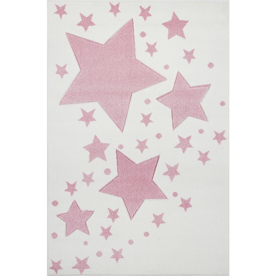 LIVONE Barnmatta Kids Love Rugs - Starline creme/rosa 160 x 220 cm