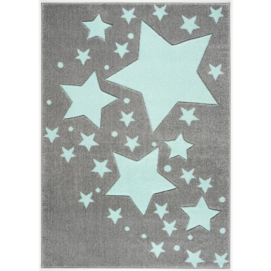 LIVONE Barnmatta Kids Love Rugs - Starline silvergrå/mint 100 x 150 cm