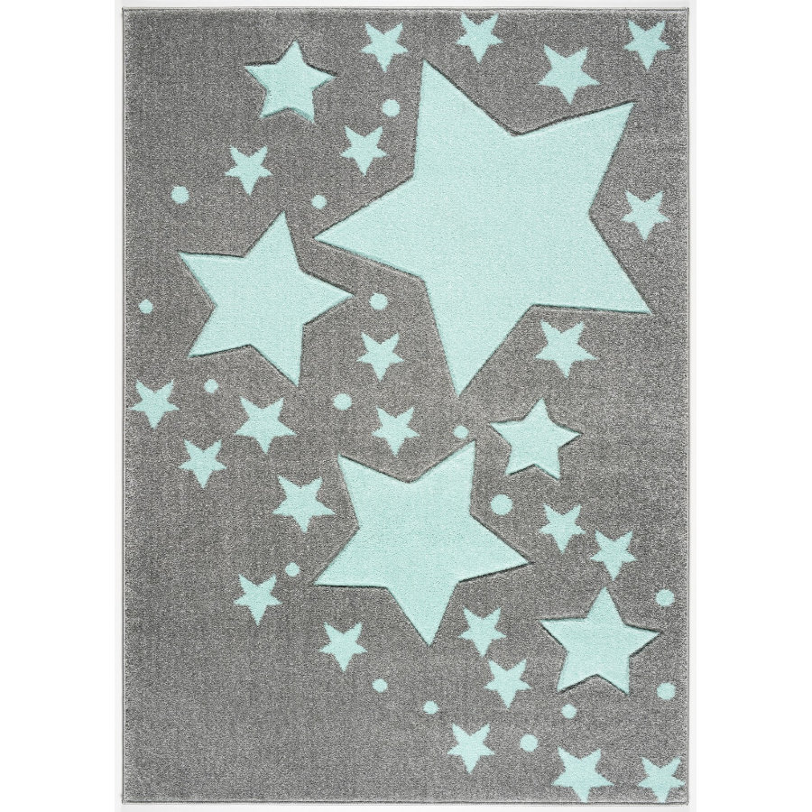 LIVONE Spiel- und Kinderteppich Kids Love Rugs Starline silbergrau/mint 100 x 150 cm