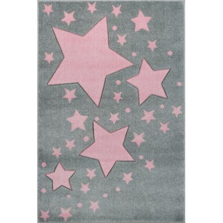 LIVONE Barnmatta Kids Love Rugs Starline silvergrå/rosa, 100 x 150 cm