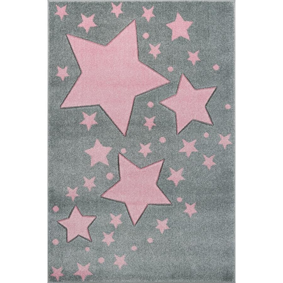 LIVONE tappeto da gioco e per bambini Kids Love Rugs Starline grigio argento/rosa 160 x 220 cm