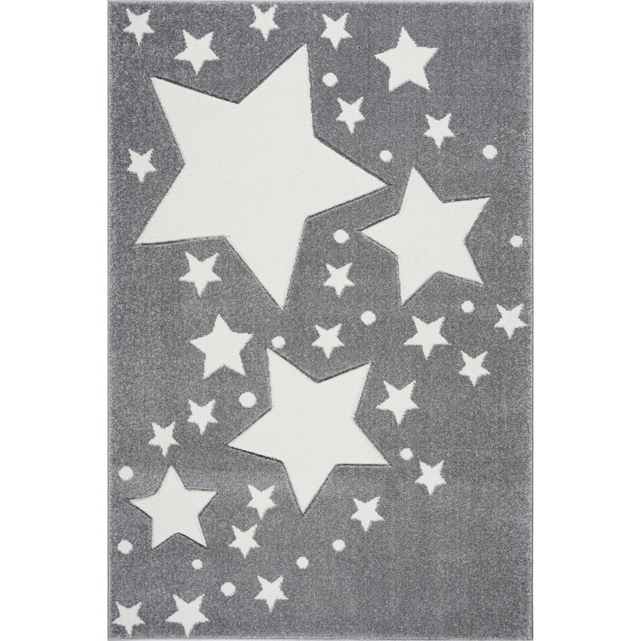 LIVONE Barnmatta Kids Love Rugs Starline - silvergrå/vit 160 x 220 cm