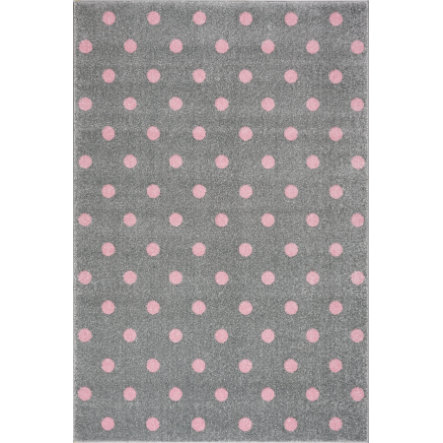 LIVONE lek og barneteppe Kids Love Rugs Circle sølvgrå / rosa, 100 x 150 cm