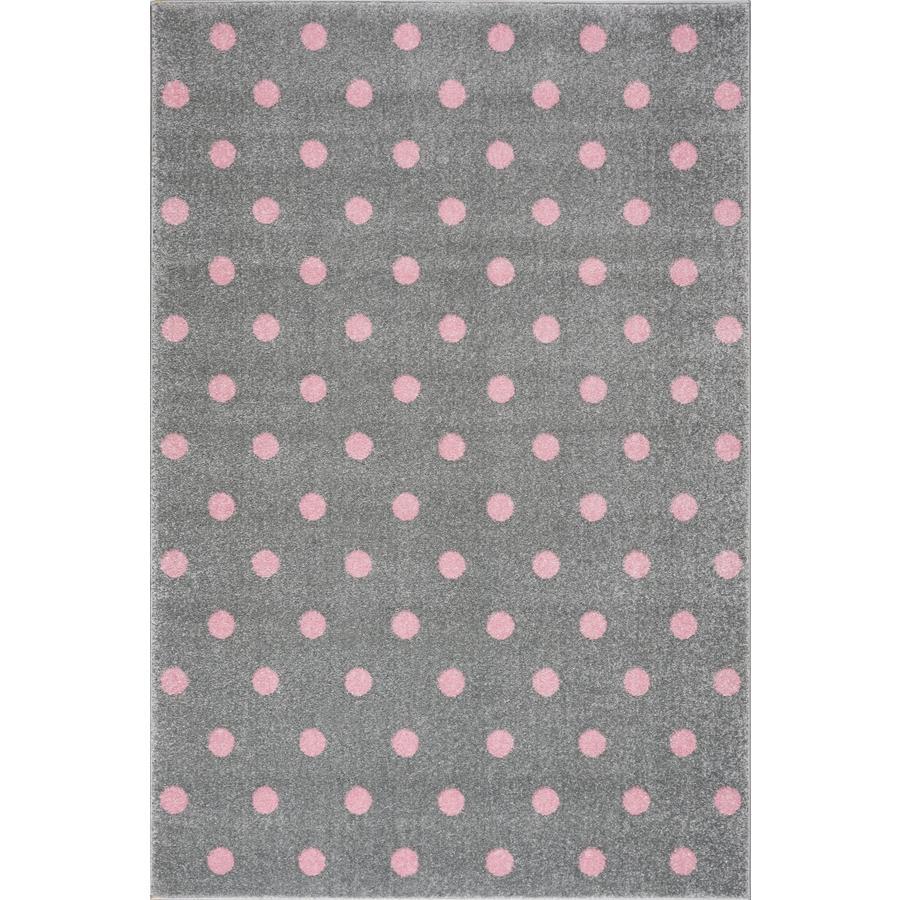 LIVONE leikki- ja lasten matto Kids Love Rugs Circle hopeanharmaa / vaaleanpunainen, 100 x 150 cm