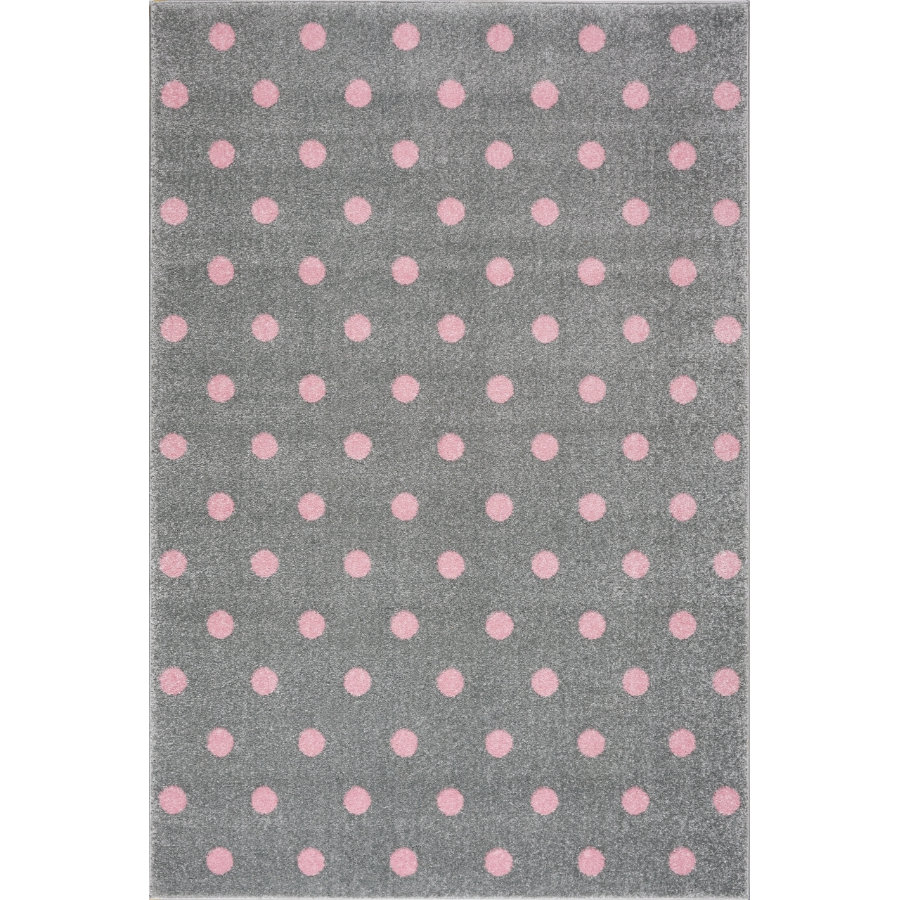 LIVONE lek og barneteppe Kids Love Rugs Circle sølvgrå / rosa, 120 x 170 cm