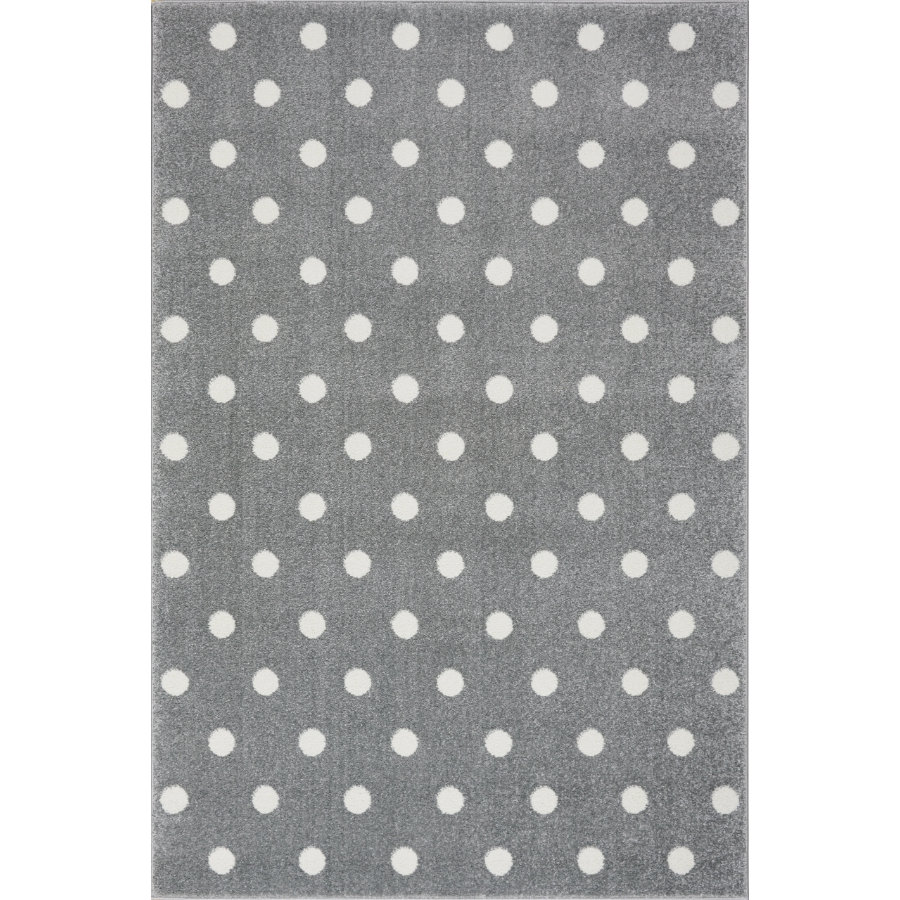 LIVONE Barnmatta Kids Love Rugs Circle silvergrå/vit 100 x 150 cm