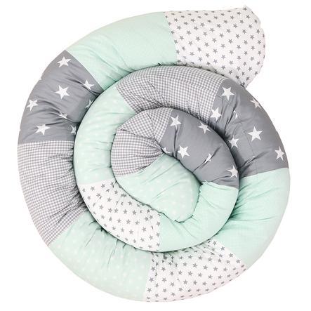 Ullenboom Tour de lit traversin enfant menthe/gris 300 cm