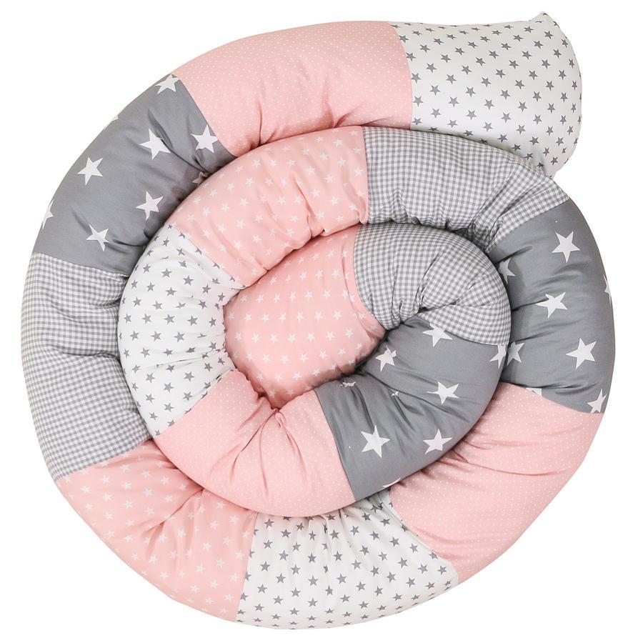 Ullenboom Tour de lit traversin enfant rose/gris 300 cm