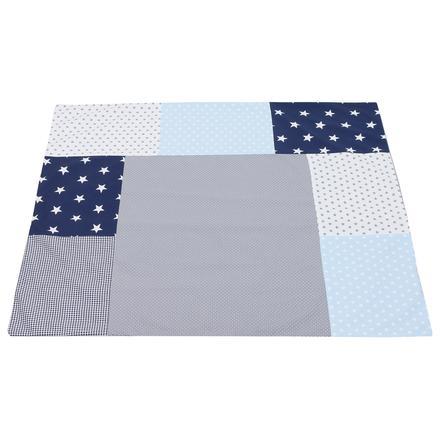 Ullenboom Patchwork Wickelauflagen-Bezug Blau Hellblau Grau 75x85 cm