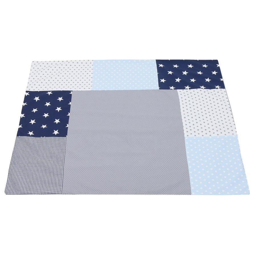 Ullenboom Housse de matelas à langer 75x85 cm patchwork bleu/bleu clair/gris