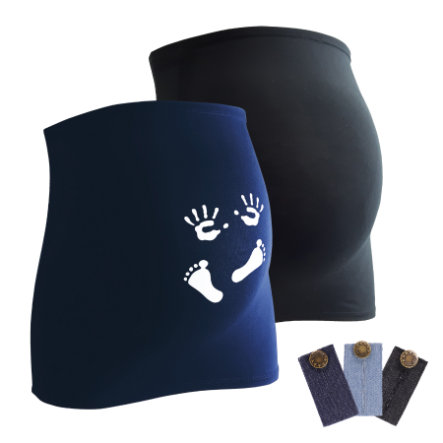 mamaband belly band 2-pack manos y pies + 3-pack pantalones de extensión negro
