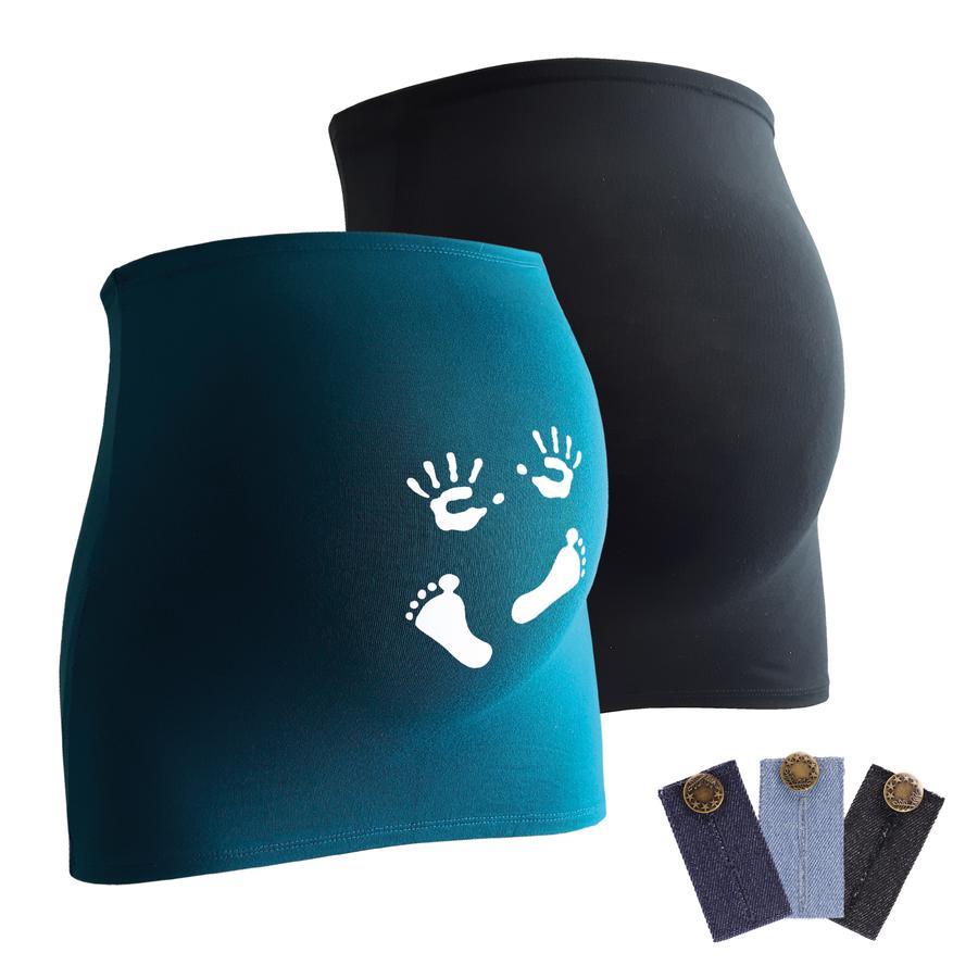 mamaband Bauchband 2er-Pack  Händchen und Füßchen + 3er Pack Hosenerweiterung schwarz/petrol