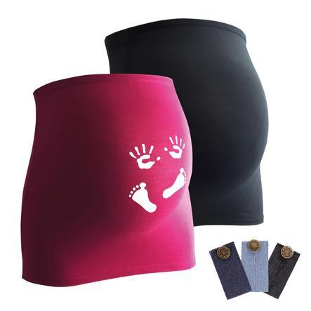 mamaband Bauchband 2er-Pack  Händchen und Füßchen + 3er Pack Hosenerweiterung schwarz/magenta