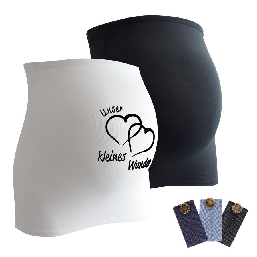 mamaband Bauchband 2er-Pack  Unser kleines Wunder + 3er Pack Hosenerweiterung schwarz/weiß