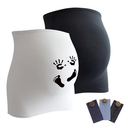 mamaband Bauchband 2er-Pack  Händchen und Füßchen + 3er Pack Hosenerweiterung schwarz/weiß