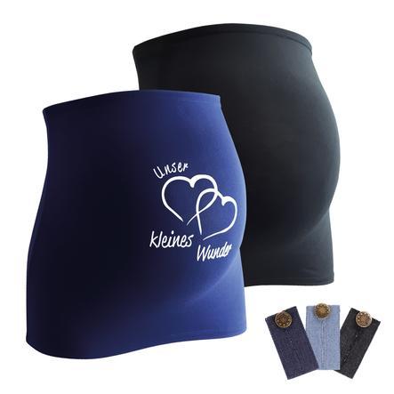 mamaband Bauchband 2er-Pack  Unser kleines Wunder + 3er Pack Hosenerweiterung schwarz/dunkelblau